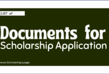 List of Documents for Scholarship Application Submission
