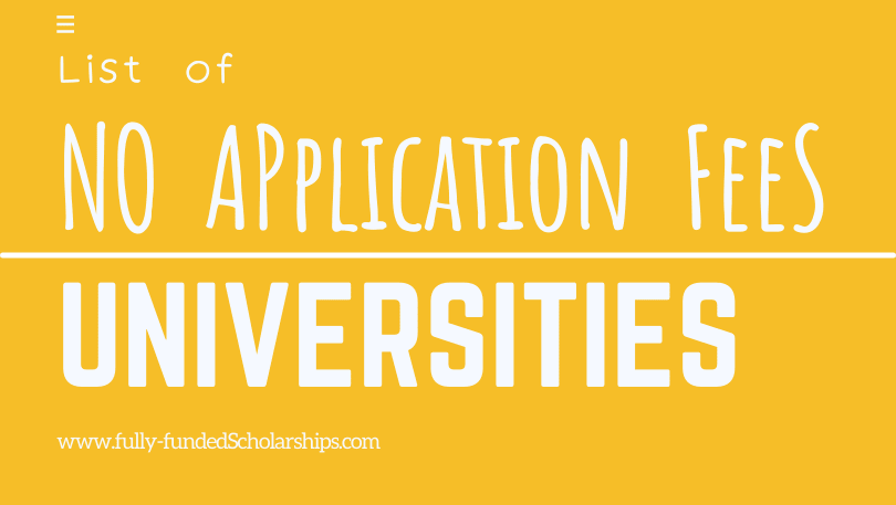 List of Universities Without Application Fees